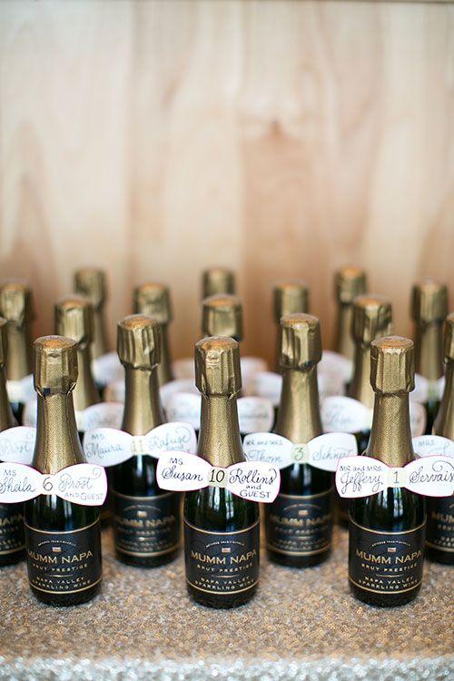 A romantic spring wedding in st louis best mini bottles for Mini wine bottle wedding favors