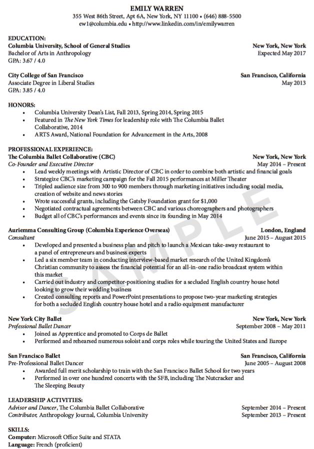 Sample Professional Ballet Dance Resume Examples Resume Cv
