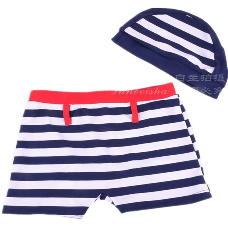 a2acad5feafa5 Red White & Blue striped boys swimwear with swim cap boy swimming trunk 2-6T