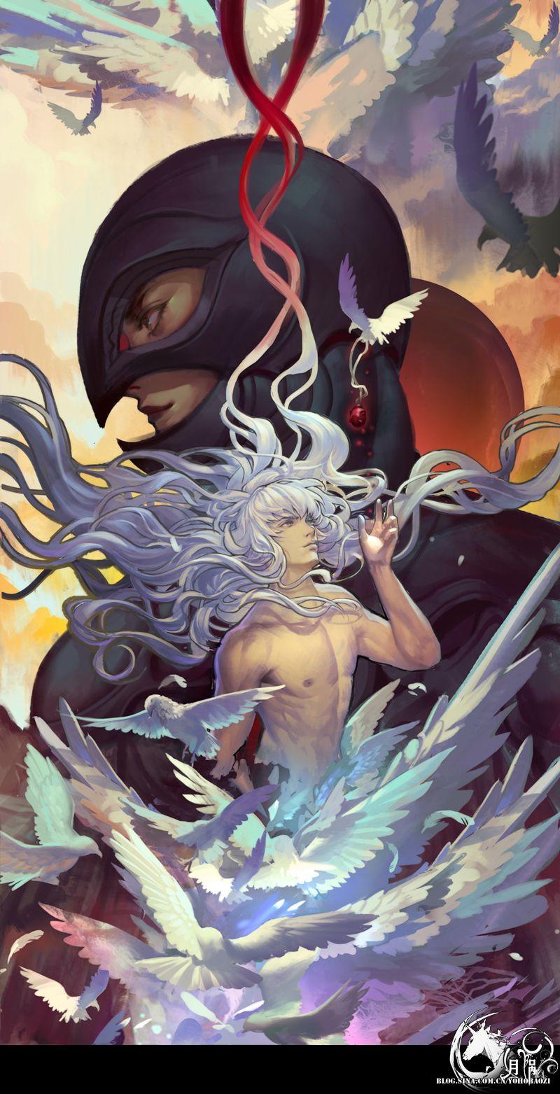 Femto/Griffith fan art  crimsonbehelit:  http://www.pixiv.net/member_illust.php?mode=medium&illust_id=52035865