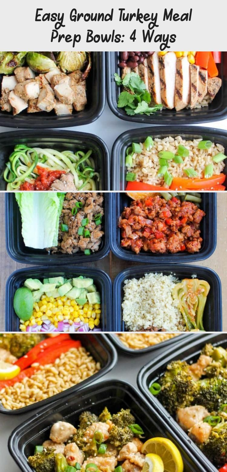 Photo of Easy Ground Turkey Meal Prep Bowls: 4 Ways – these healthy meal prep recipes com…
