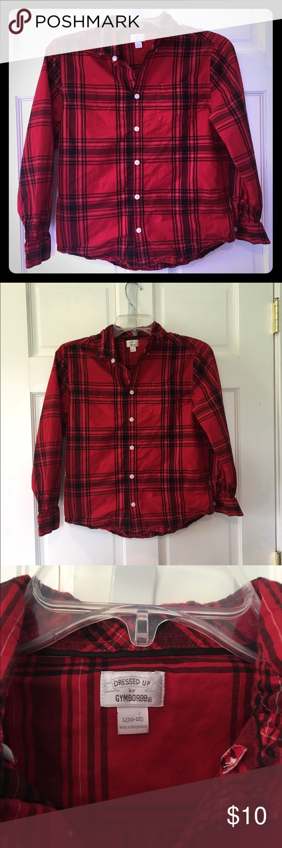Gymboree Dress Shirt This awesome Gymboree red and black plaid dress shirt has only been worn once. It's in perfect condition! It's marked a 10/12, but I think it runs a bit small. Gymboree Shirts & Tops Button Down Shirts