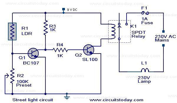 The Circuit Diagram Of An Automatic Street Light Controller