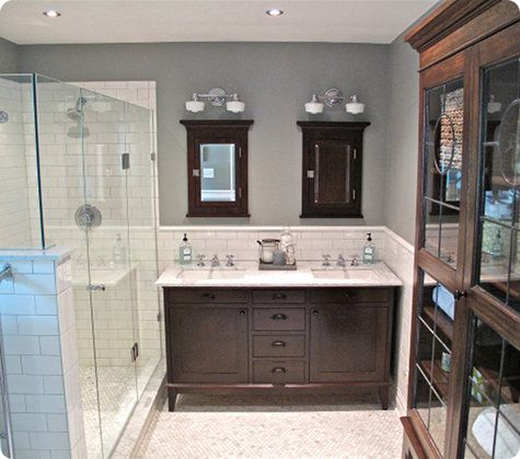 Benjamin Moore Sabre Gray Paint   Also LOVE The Antique Cabinet For Linens