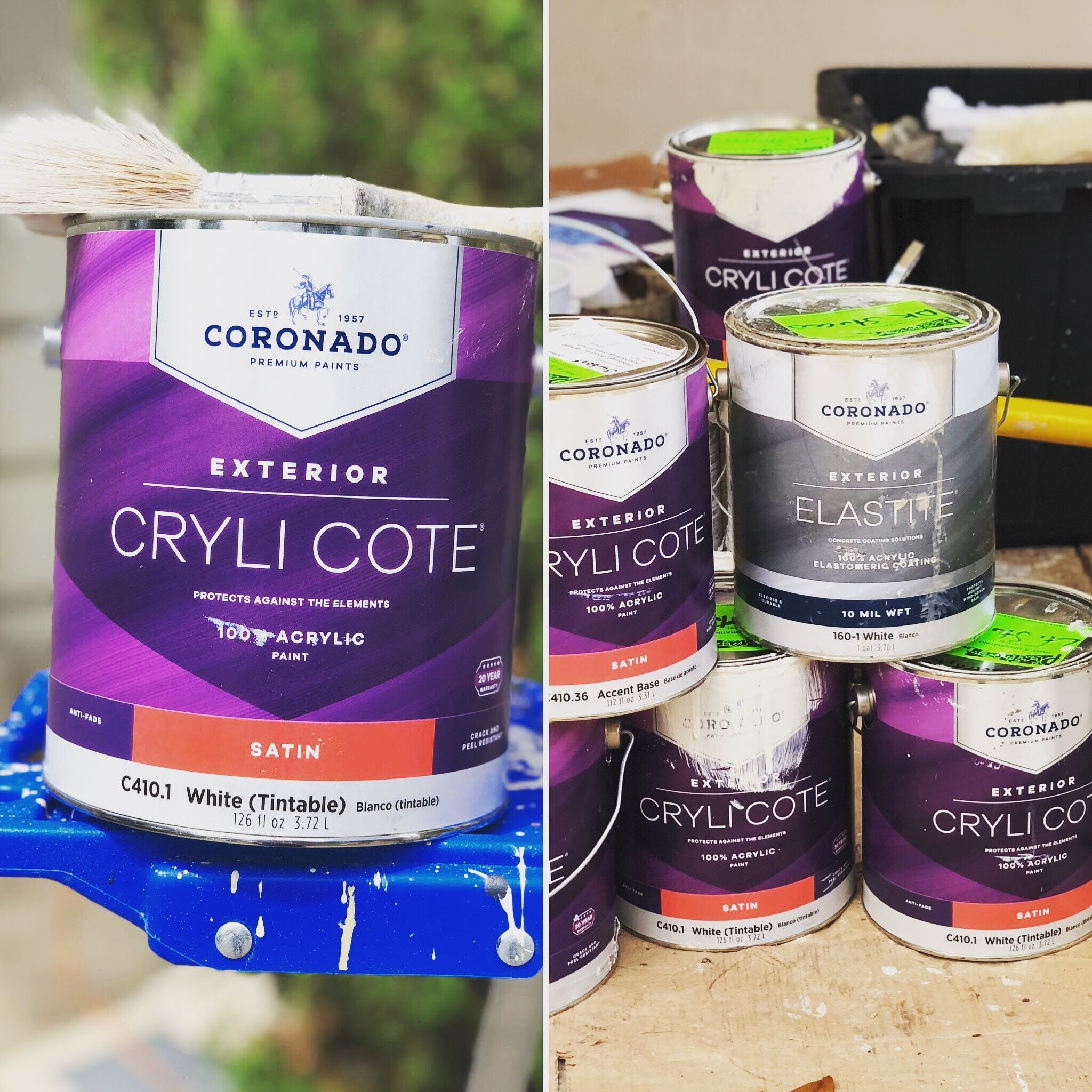 Our best seller for exterior paint is Coronado Cryli Cote