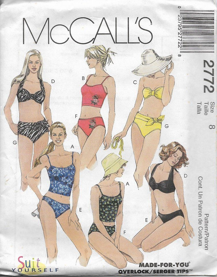 199dcedd39 McCall's 2772 Misses Two Piece Swimsuit Sewing Pattern, Sizes 8, 10 & 14,  UNCUT by DawnsDesignBoutique on Etsy