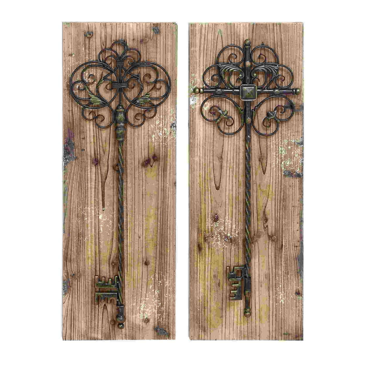 Woodland Imports Attractive Wood Panel Wall D�cor: Woodland Imports 55423 Enchanting Key Door Wall Panels