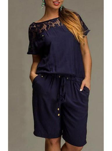 058c242251a Plus Size Knee Length Romper - Short Sleeve   Lace Trimmed ...