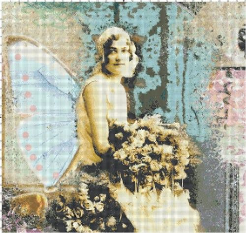 Art Deco Altered Art Butterfly Woman #2 Handmade Cross-Stitch Pattern | BellaStitchery - Sewing and Fabric Supplies on ArtFire