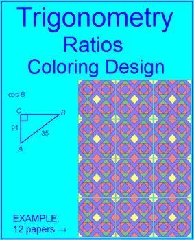 Trigonometry  Coloring Activity Find Trig Ratios Sin Cos Tan