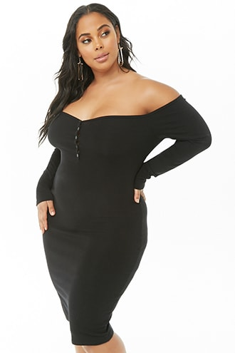 Plus Size Off-The-Shoulder Henley Dress in 2019 | Products | Plus ...