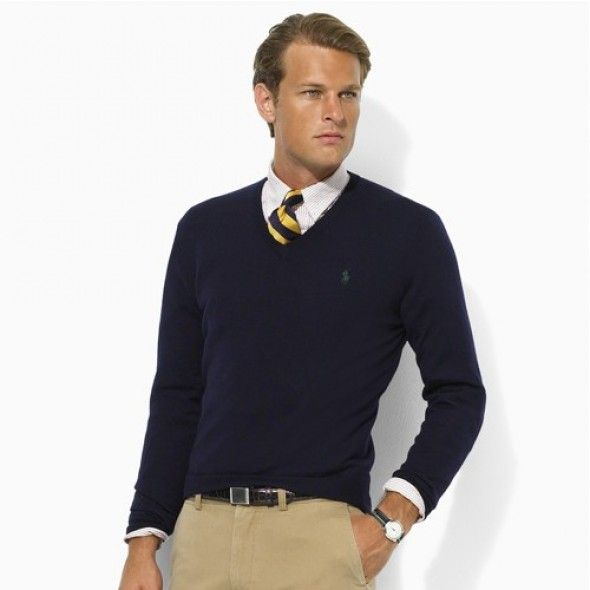Ralph Lauren Men\u0027s V-Neck Mesh Sweater Darkblue Polo http://www.
