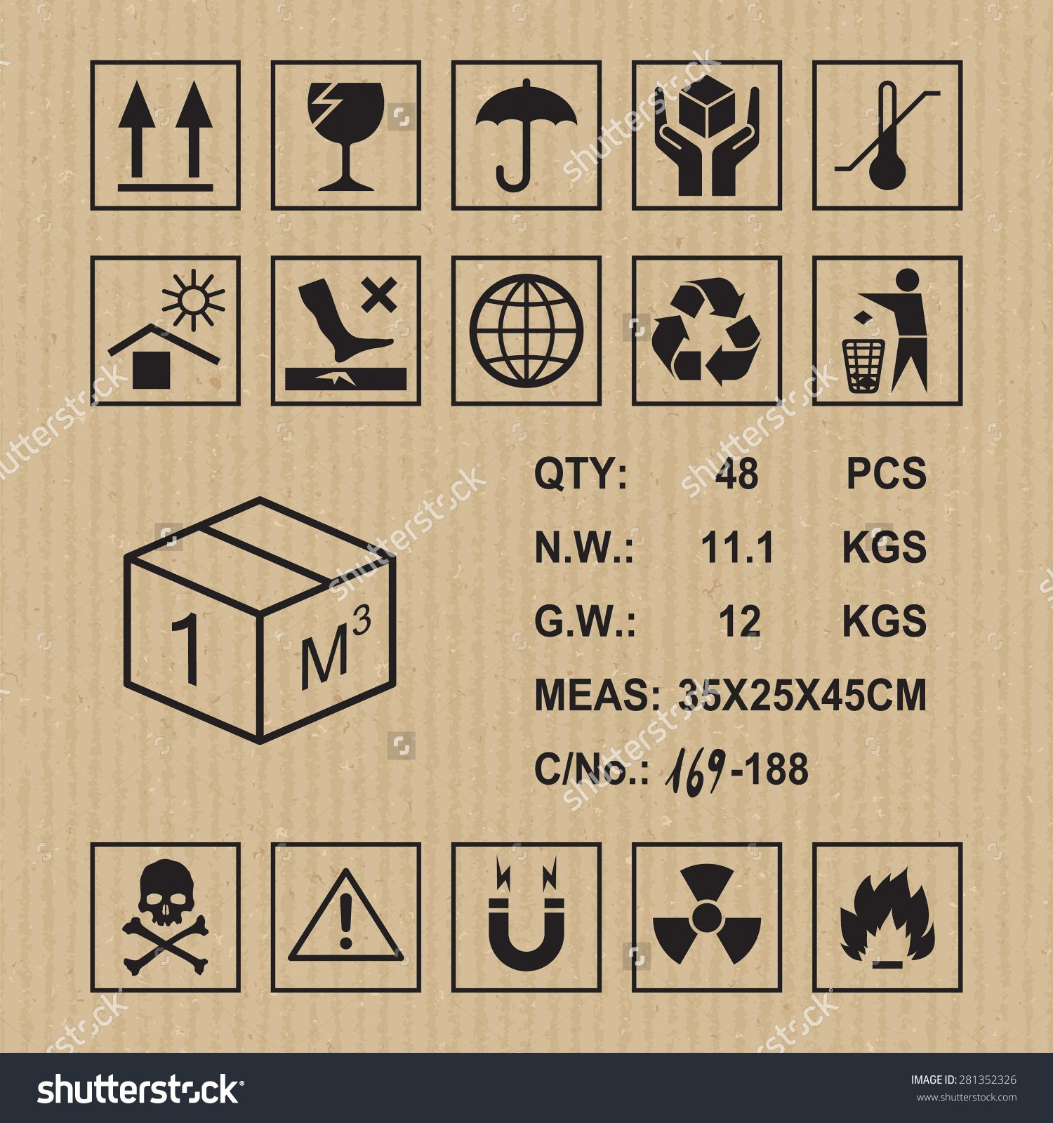 Cargo Symbols On Cardboard Texture. Handling, Packing And Caution ...