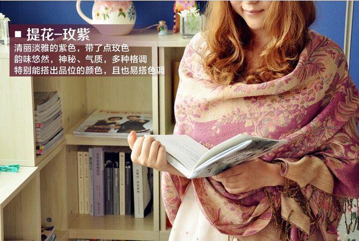 Bohemian floral embrodiery Jacquard scarf long