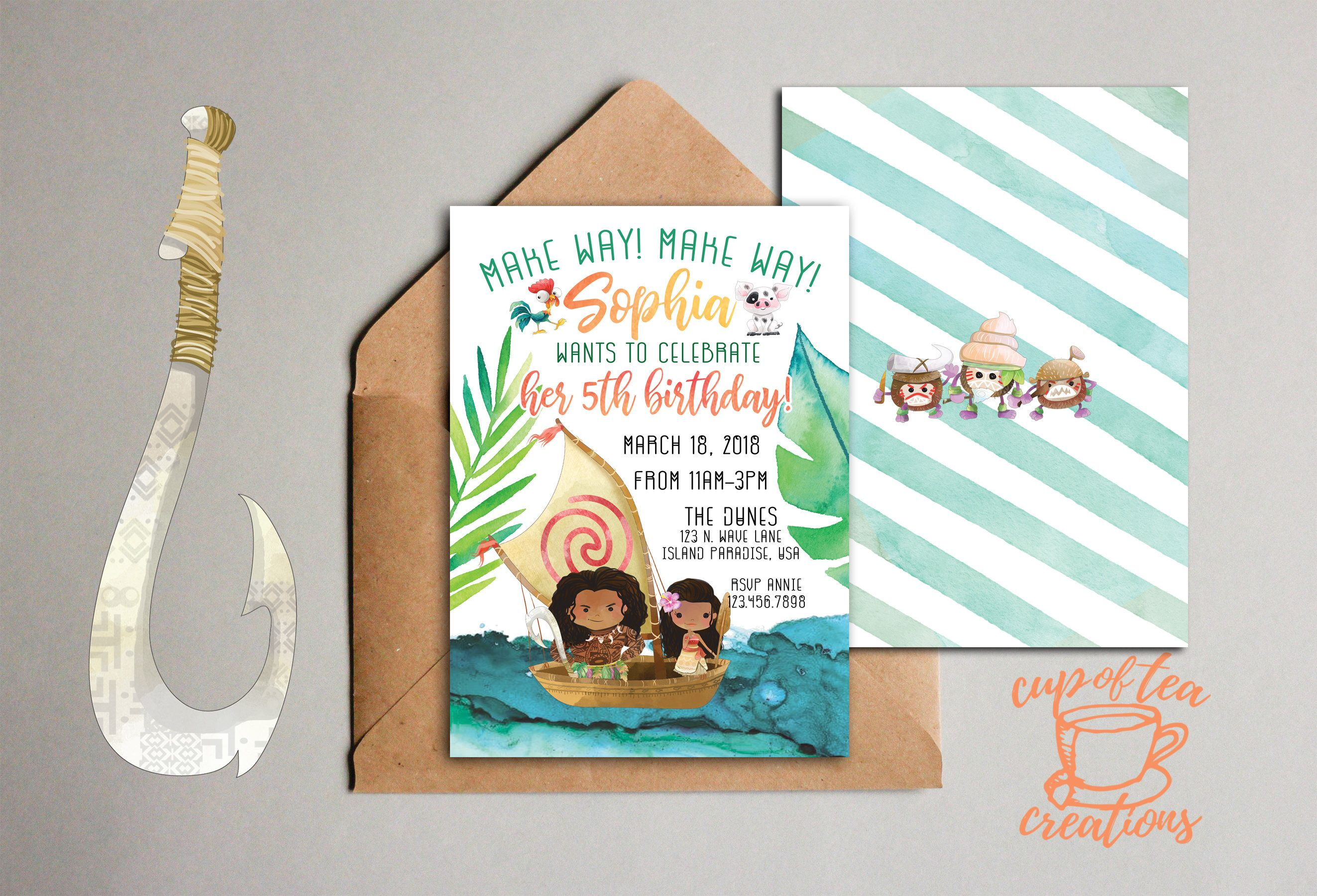 Moana Invitation Birthday Party And Maui Invite