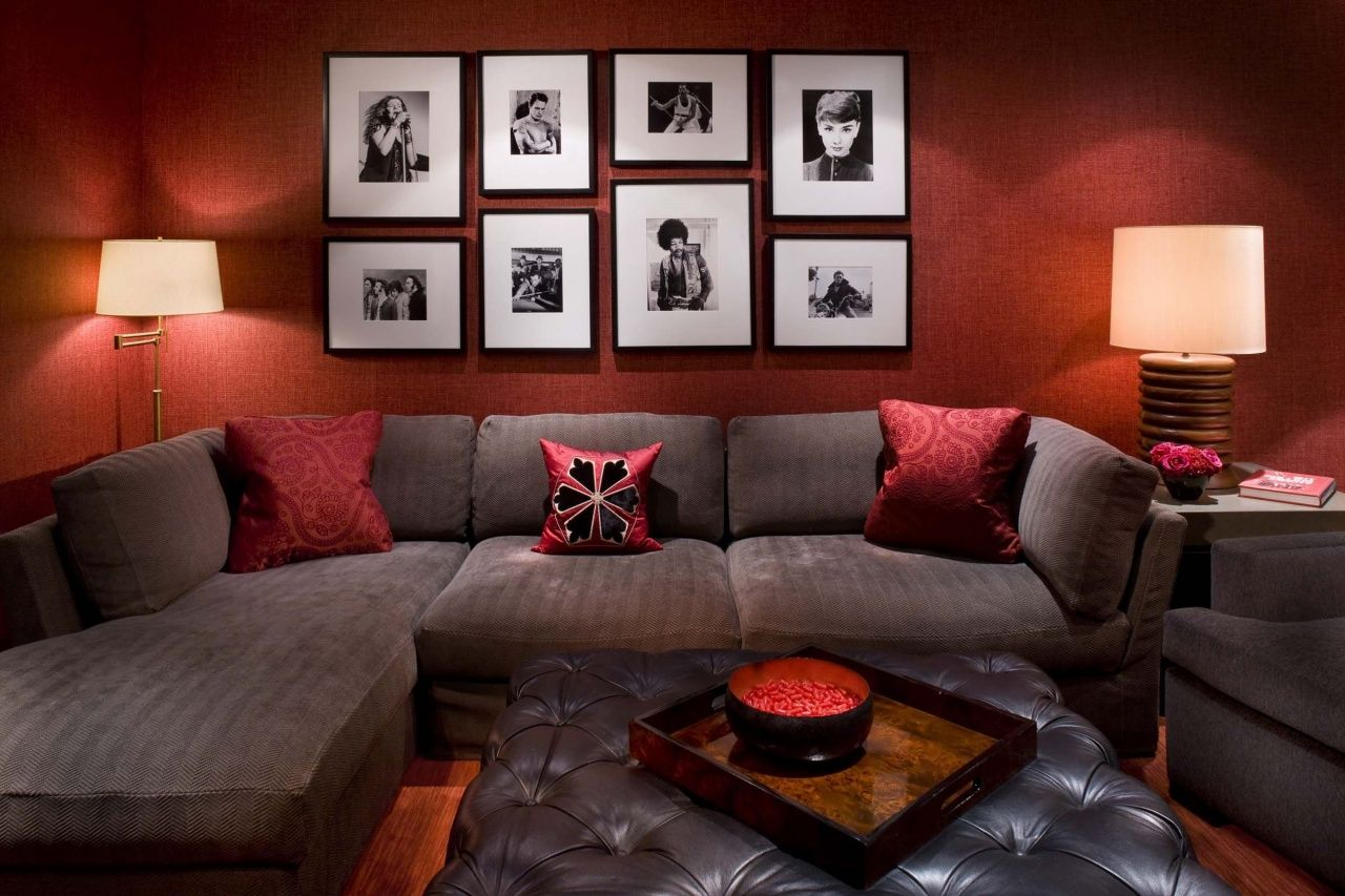 Brown and Blue Living Room Decorating Ideas in 2020   Red ...
