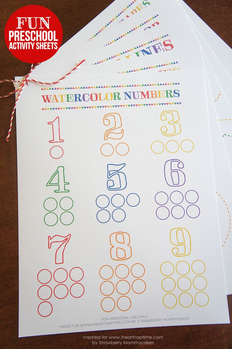 Watercolor Preschool Activity Sheets on www.iheartnaptime.com #preschool #freeprintables