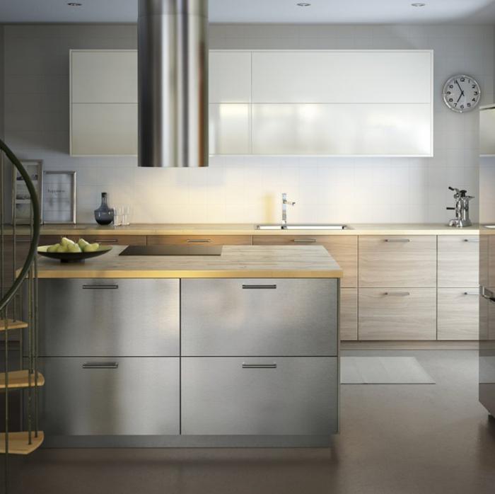Ikea Küchen Modern 2015 Helles Holz Fronten Arbeitsfläche Modulare Küche