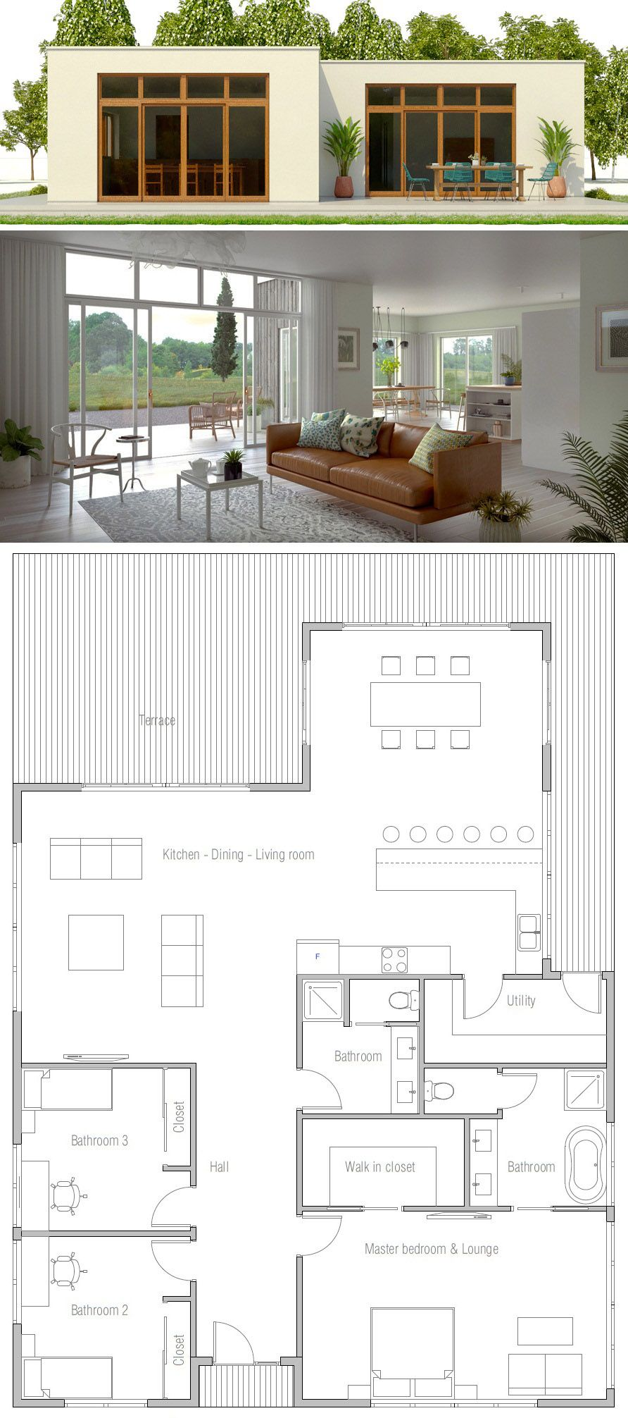 House Plan Ch472 Minimalist House Design Architecture House Small House Design