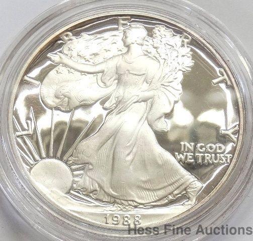 Us 1988 American Eagle 999 Fine Silver 1 Oz One Dollar Bullion Coin W Coa Silver Bullion Coins Silver Coins