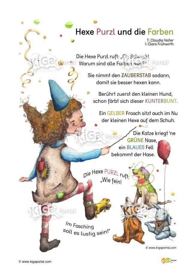 DE Kindergarten KiGaPortal Fasching Hexe Hexen Farbe Farben Reim