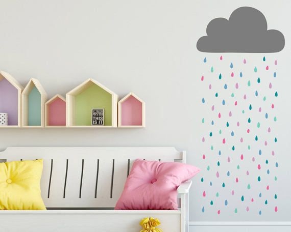 Rain Cloud Wall Decal   Cloud And Rainbow Raindrops Wall Decal, Vinyl Wall  Decal, Cloud Wall Sticker, Raindrop Decal, Nursery Wall Decals