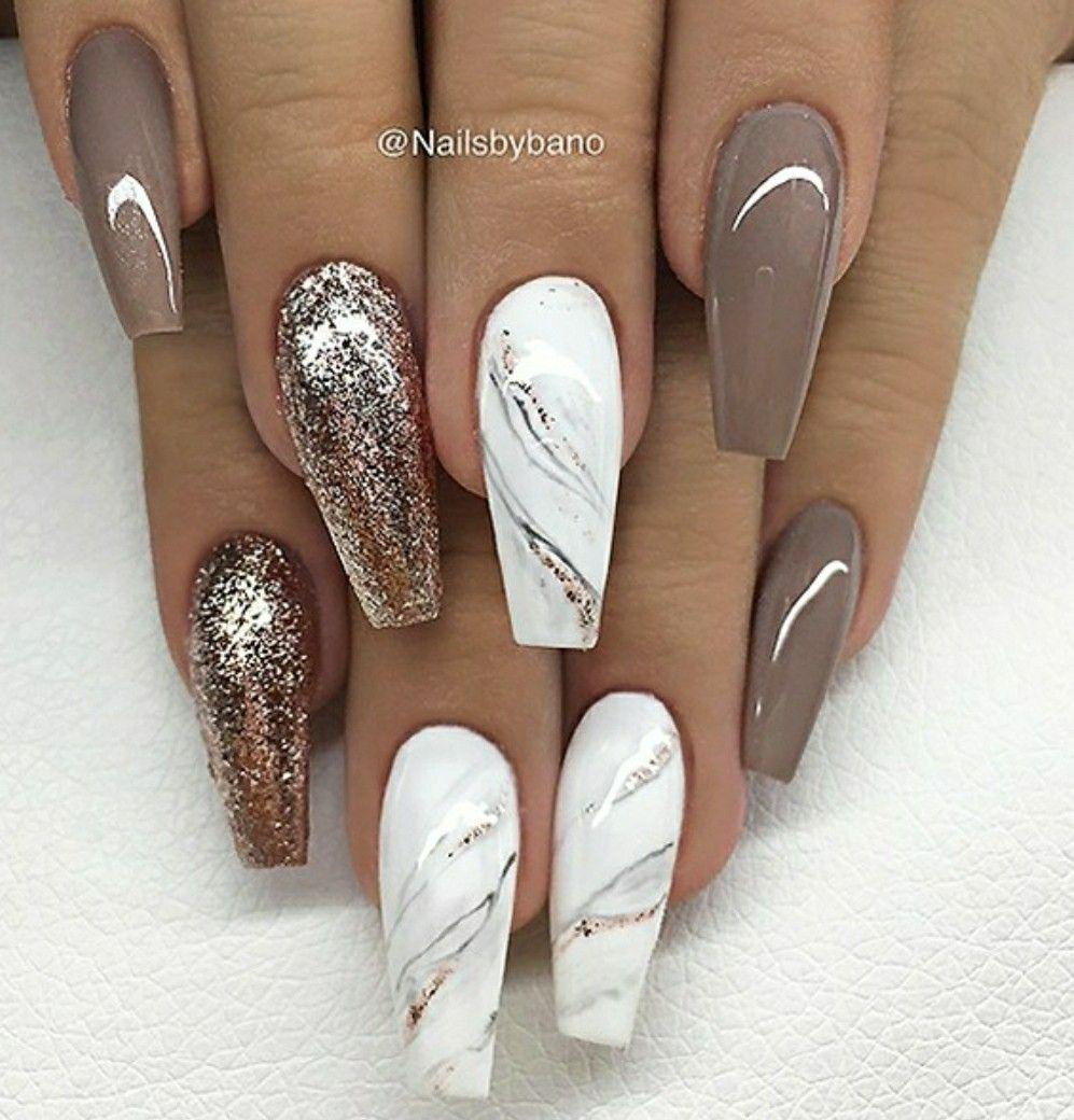 Beautiful Coffin Summer Marble Art Gel Glitter Manicure