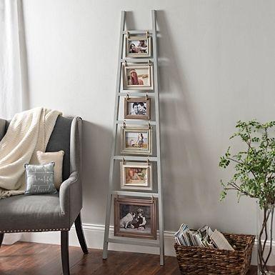 Gray Ladder Leaner Collage Frame Decor Stylish Wall Decor Collage Frames