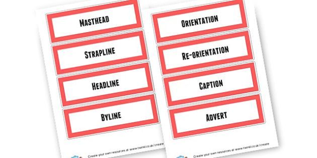 Feature of a Newspaper - KS2 Newspaper Templates & Reports Primary ...