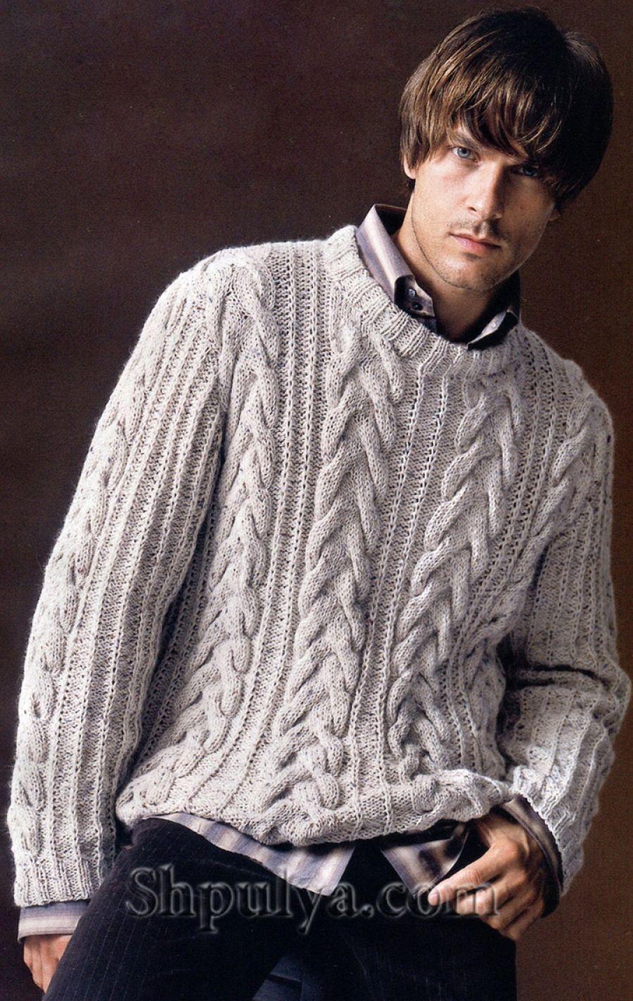 www.SHPULYA.com - Мужской пуловер с узором из кос, вязаный спицами ...