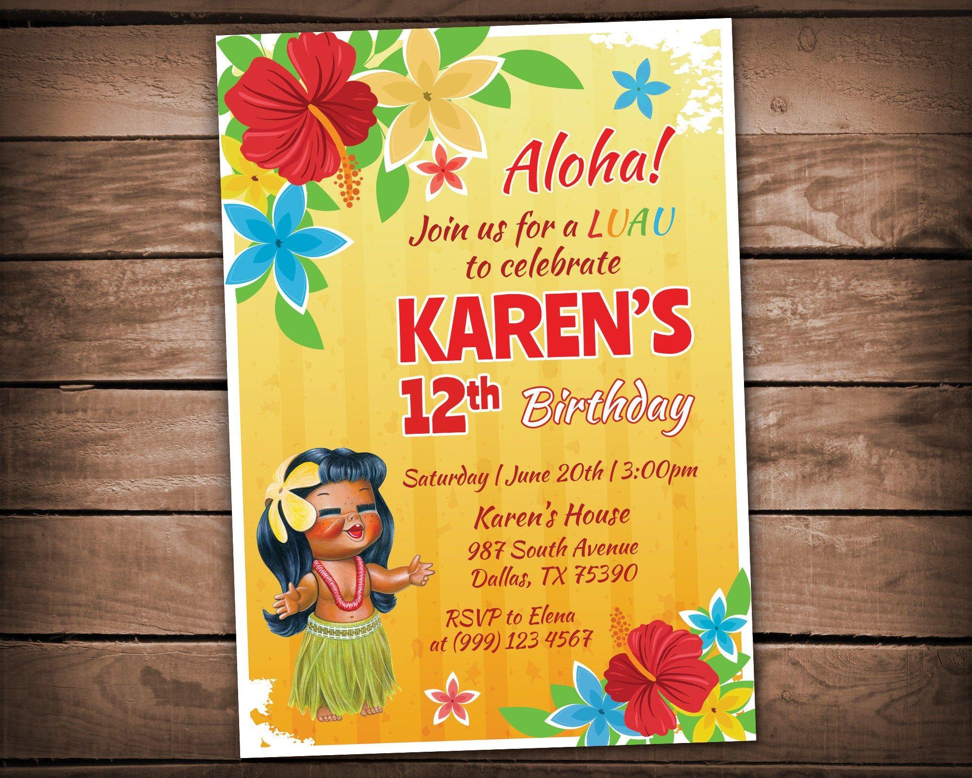 Aloha birthday invitation retro hawaiian birthday invite