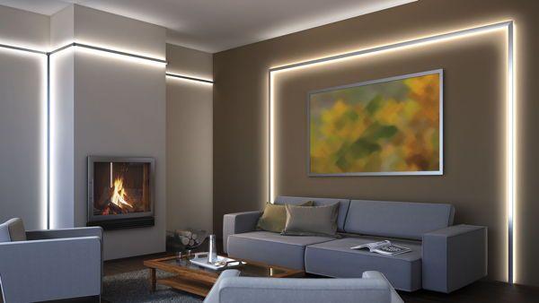 foto: wohnraum mit indirekter led-beleuchtung hinter alu-profilen,