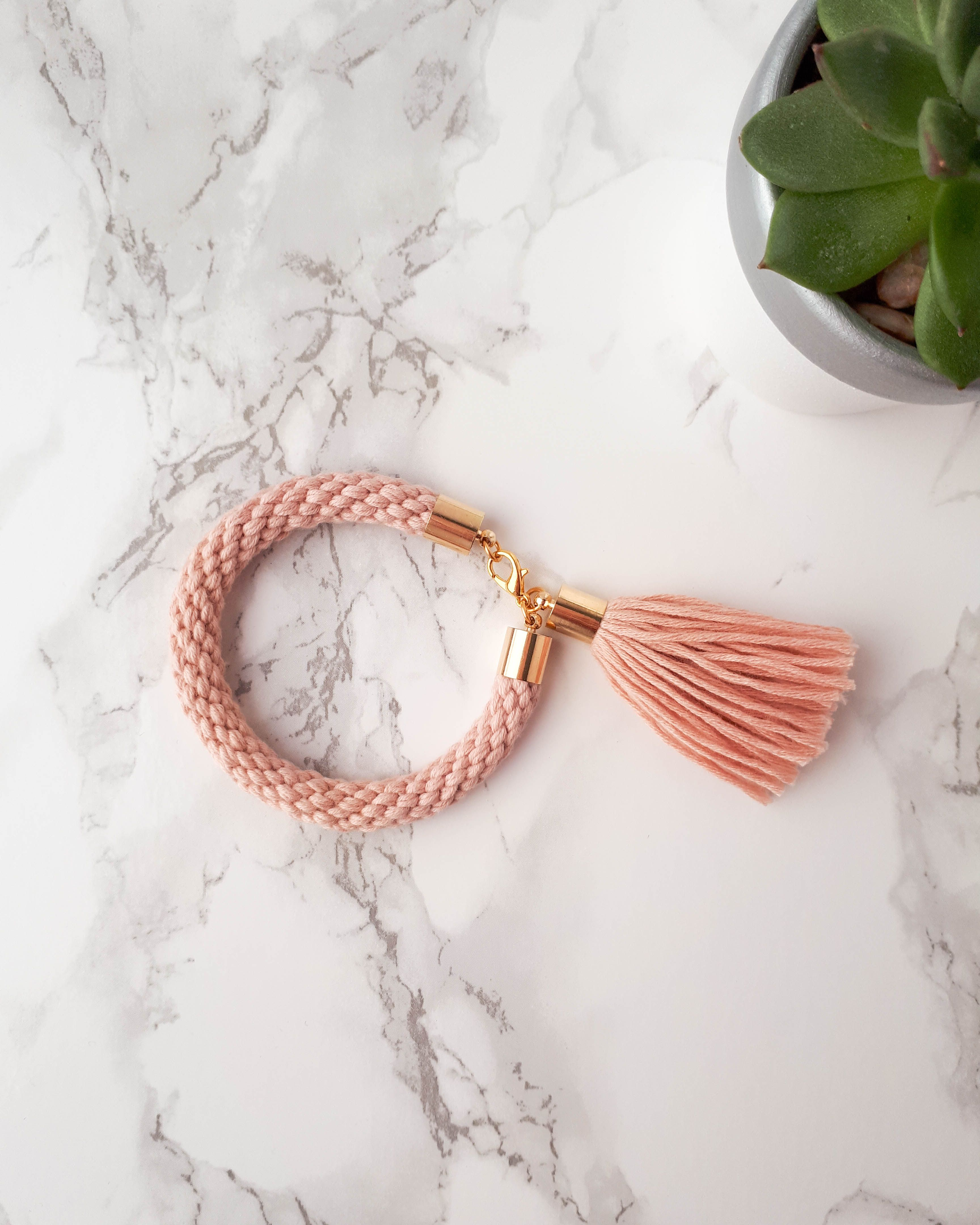 Tassel bracelet pink rope bracelet blush bracelet chunky bracelet