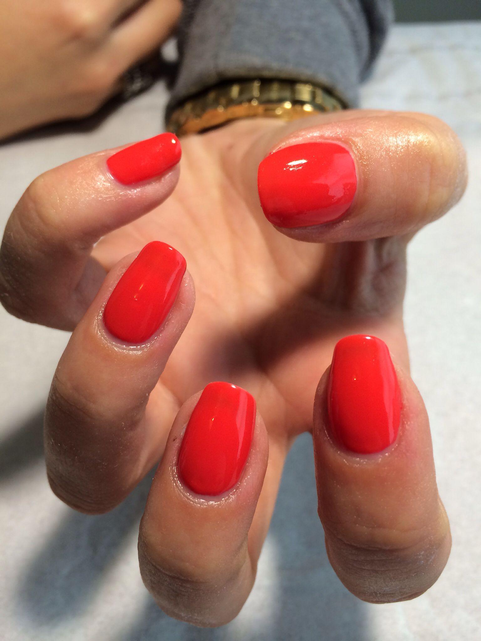 Gelish Tiger Blossom Red Shellac Nails Coral Gel Nails Gelish
