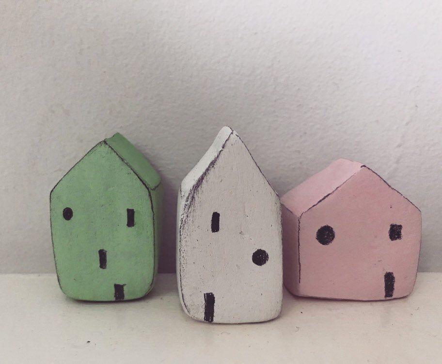 Miniature Nordic House // Scandinavian folk art seaside decor // little seaside houses // set of 3