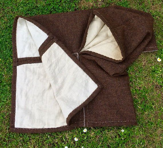 VIKING Woolen HOOD CAPE replica from Norway Two Layers Wool and Linen Vikings Clothing Clothes Re-enactment Costume Costumes Norse Pagan Sca WwzX1xvof