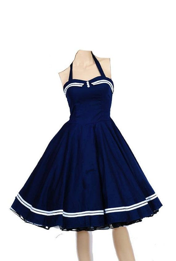 a13642b1d6b NAUTICAL SAILOR DRESS Blue Red Black 1950 Vintage STyLE ROCKABiLLY ...