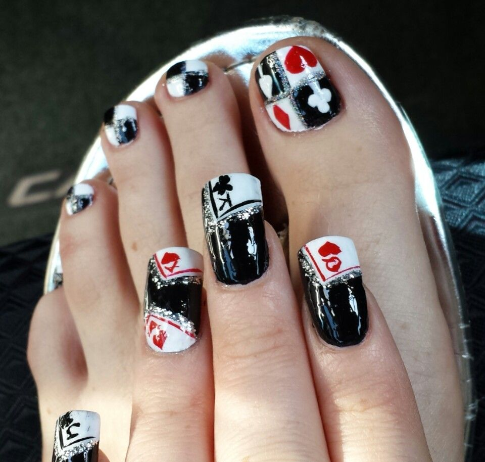 black red and white sparkly vegas