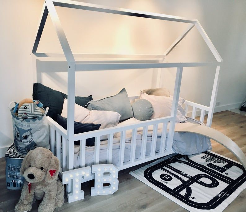 Birch Hardwood Bed Toddler Bed Play House Bed Frame Children Bed Bunk Bed Home Bed Wood House Floor Bed Wooden Bed Wood House In 2020 House Frame Bed Kid Beds Bed Frame