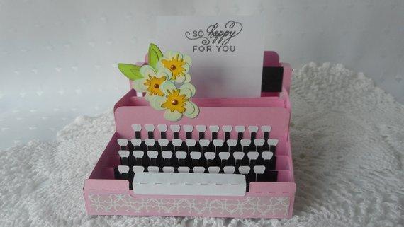 Vintage Typewriter 3d Pop Up Box Card Handmade Blank Greeting Etsy Pop Up Box Cards Card Box Homemade Greeting Cards
