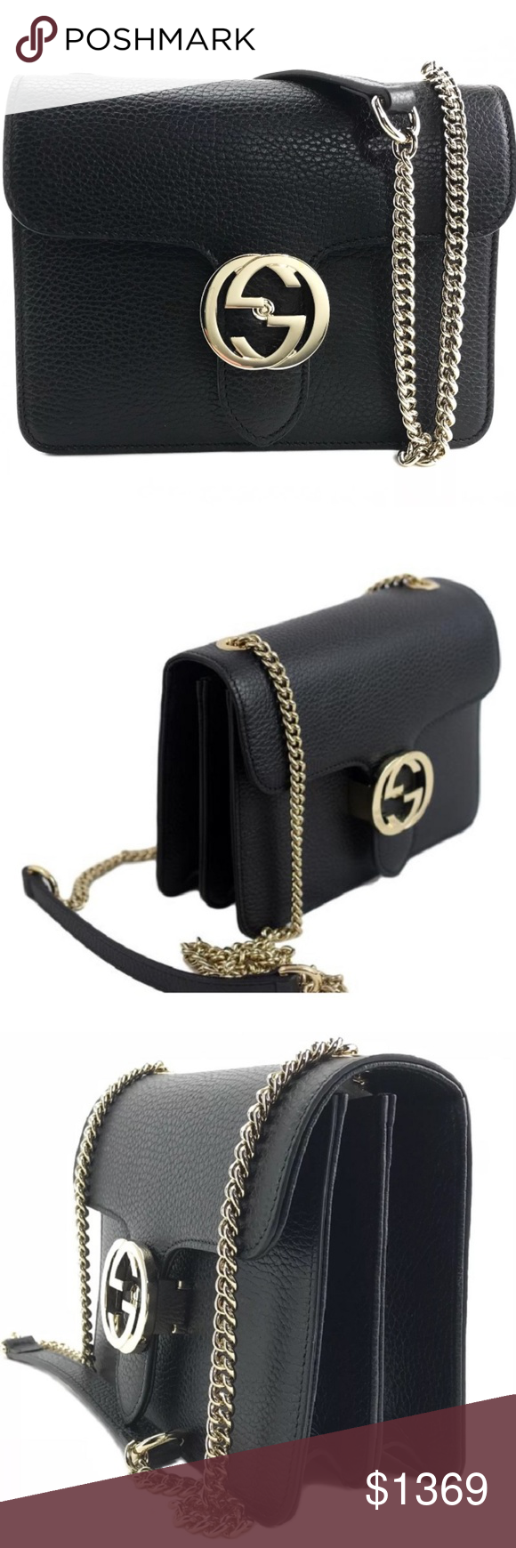 0063bb04e248 Gucci GG Closure Leather Chain Crossbody, #510304 * Black Textured Leather  Hard Exterior *