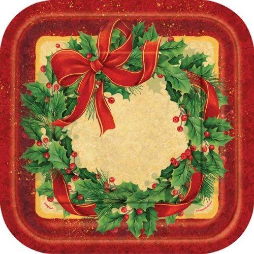 Christmas Large Square Bulk Paper Plates Pack of 40 & Christmas Large Square Bulk Paper Plates Pack of 40 | Christmas ...