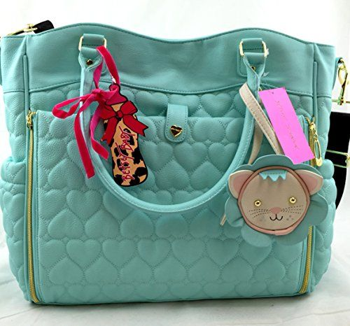 Betsey Johnson 3pc Be Mine Quilted Hearts Roll Out Diaper Bag - Mint ... 9e5a08ef2d096