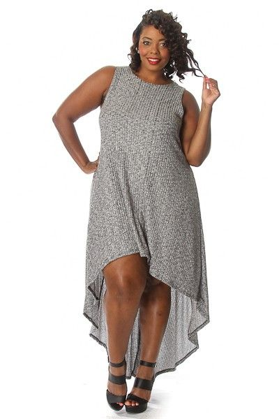 Plus Size Ribbed High Low Maxi Dress