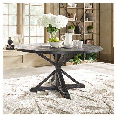 Sierra Round Farmhouse Pedestal Base Wood Dining Table 60 Charcoal Brown Inspire Q Dining Table Wood Dining Table Kitchen Table With Storage