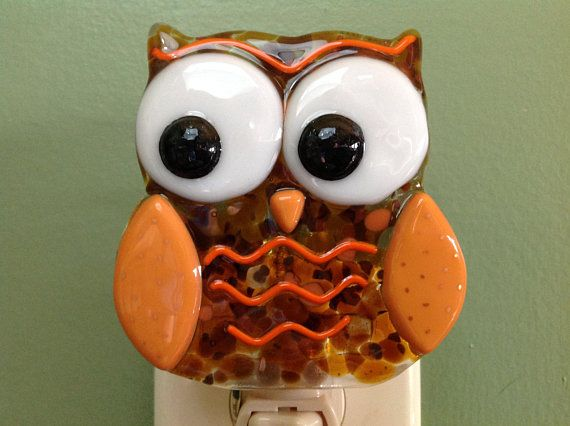 Owl Fused Gl Life S A Hoot Brown And Orange Decor