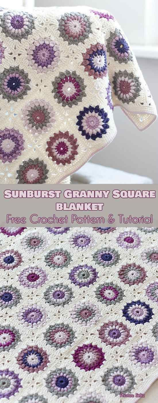 Sunburst Granny Square Blanket Free Pattern - Crochet Ideas #grannysquares