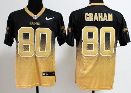 premium selection 91d78 c9bcf Nike New Orleans Saints #80 Jimmy Graham Black/Gold Fadeaway ...