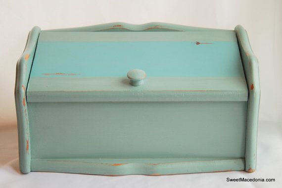 This vintage bread box is painted with Annie Sloan Chalk Paint.  You can make similar or find in my etsy shop.   Vintage Duck Egg/Provence Blue Solid Wood Bread by SweetMacedonia, $69.99