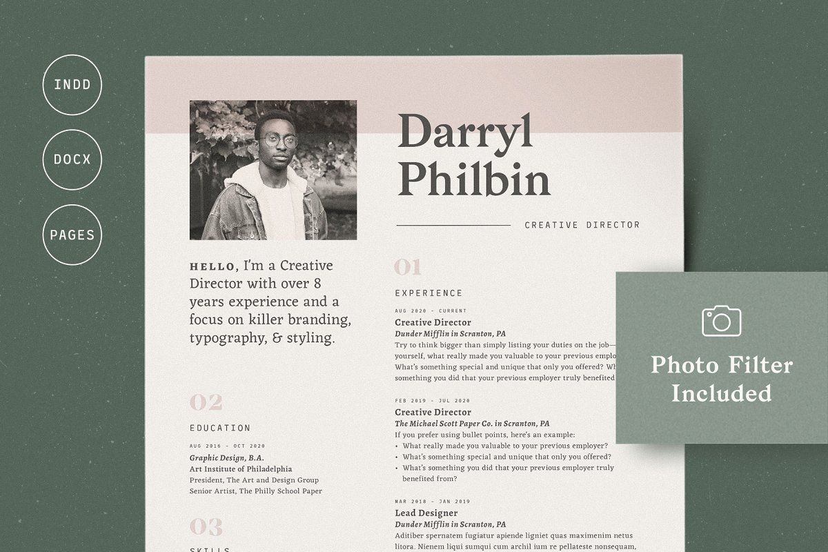Ad Resume with Picture / CV with Photo by More Profesh on